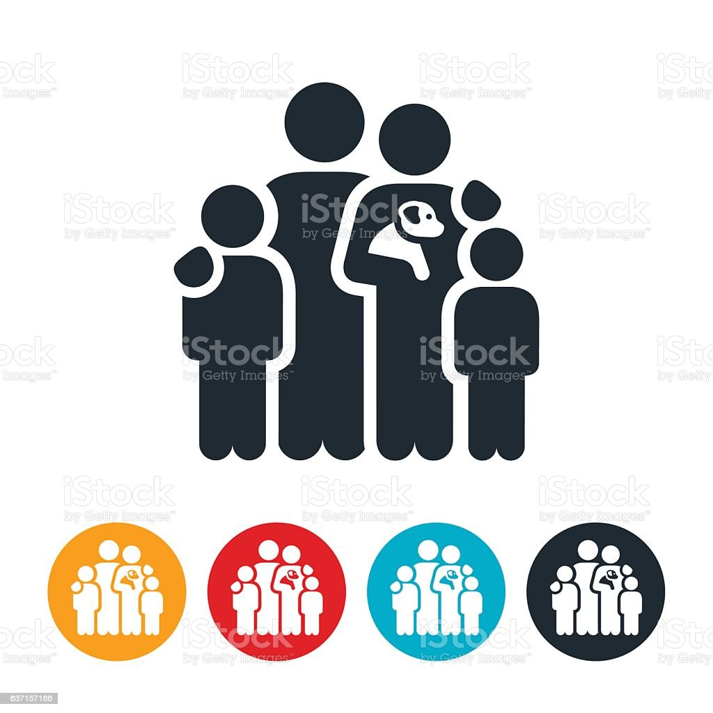 Family With Pet Icon vector art illustration