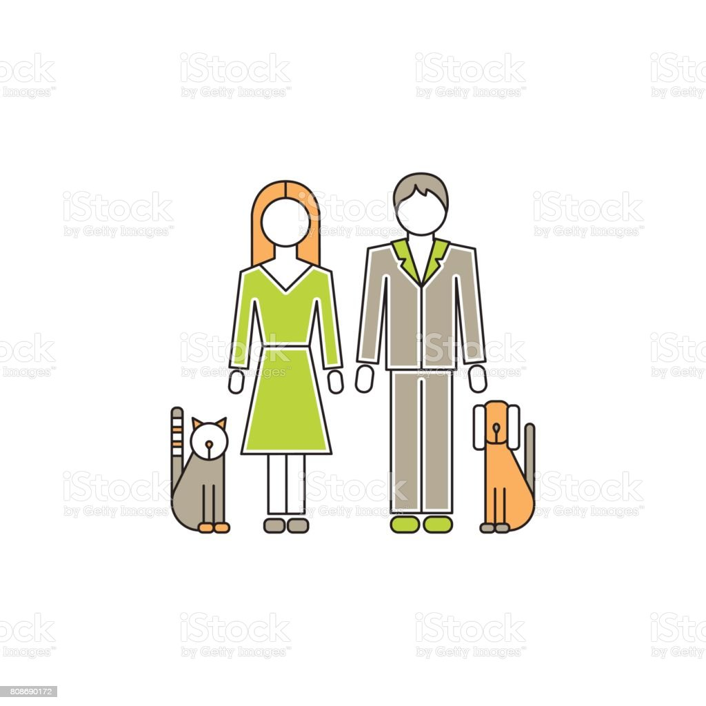Family with pets line icon vector art illustration