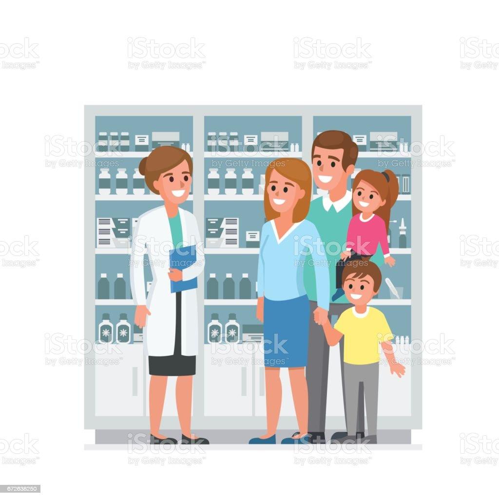 Family with pharmacist vector art illustration