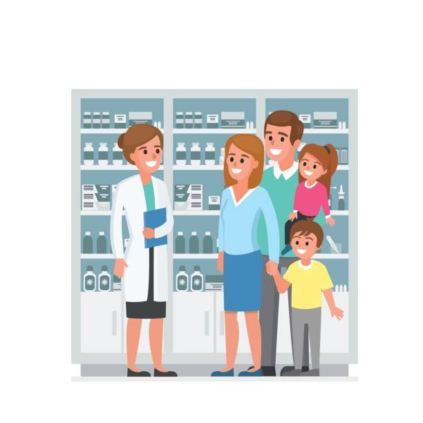 Family with pharmacist Pharmacist and family customers in drugstore. Vector illustration. pharmacist stock illustrations