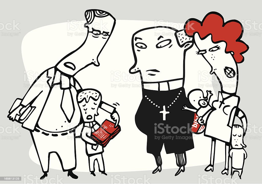 Family with priest scolding a child royalty-free stock vector art
