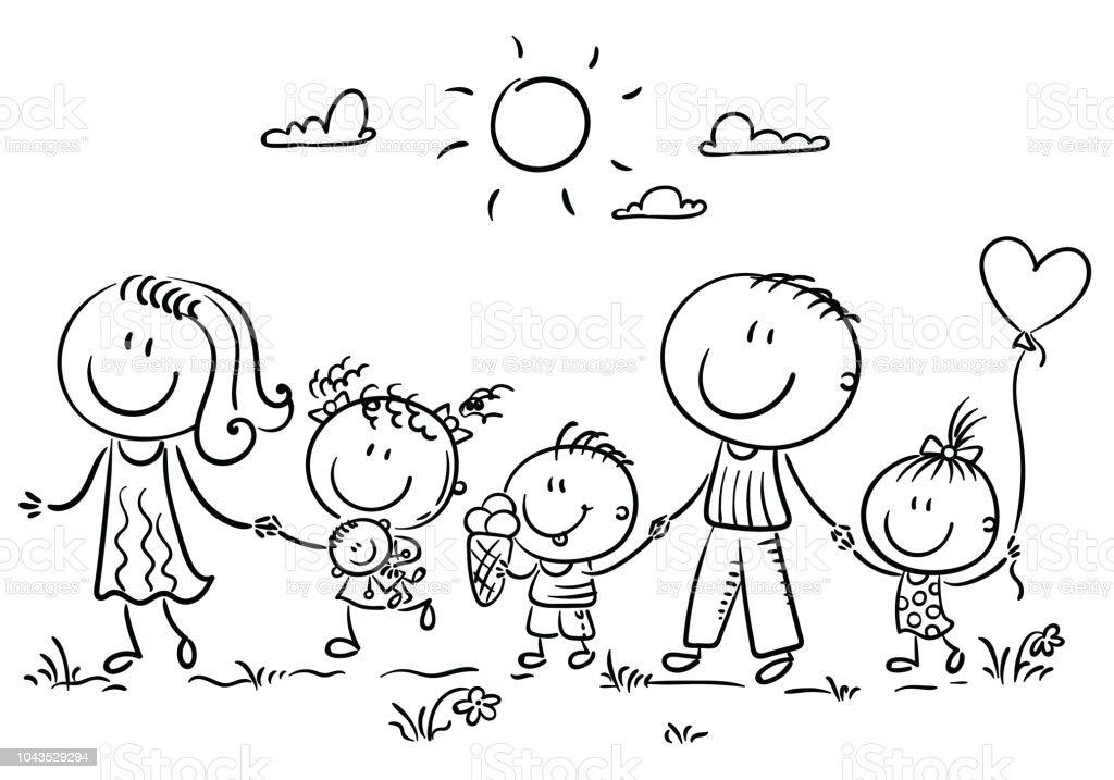 Ilustración de Familia Con Tres Niños Caminando Al Aire Libre De ...