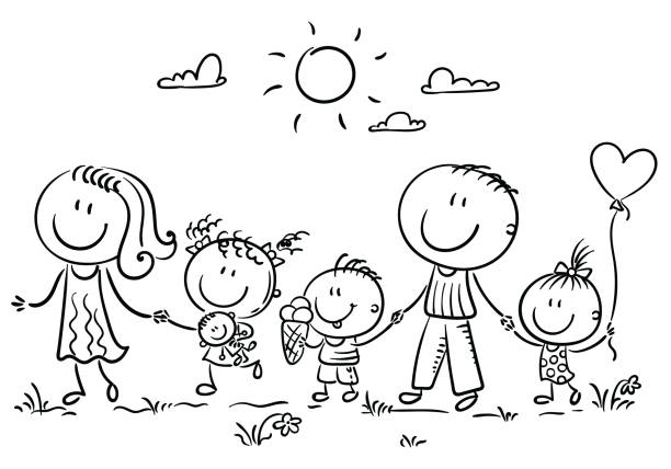 Family with three children walking outdoors, outline vector art illustration