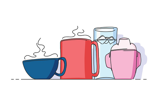 Family with two children represented by their drinks and cups in a casual setting. Everyday life and conceptual representation of a family.