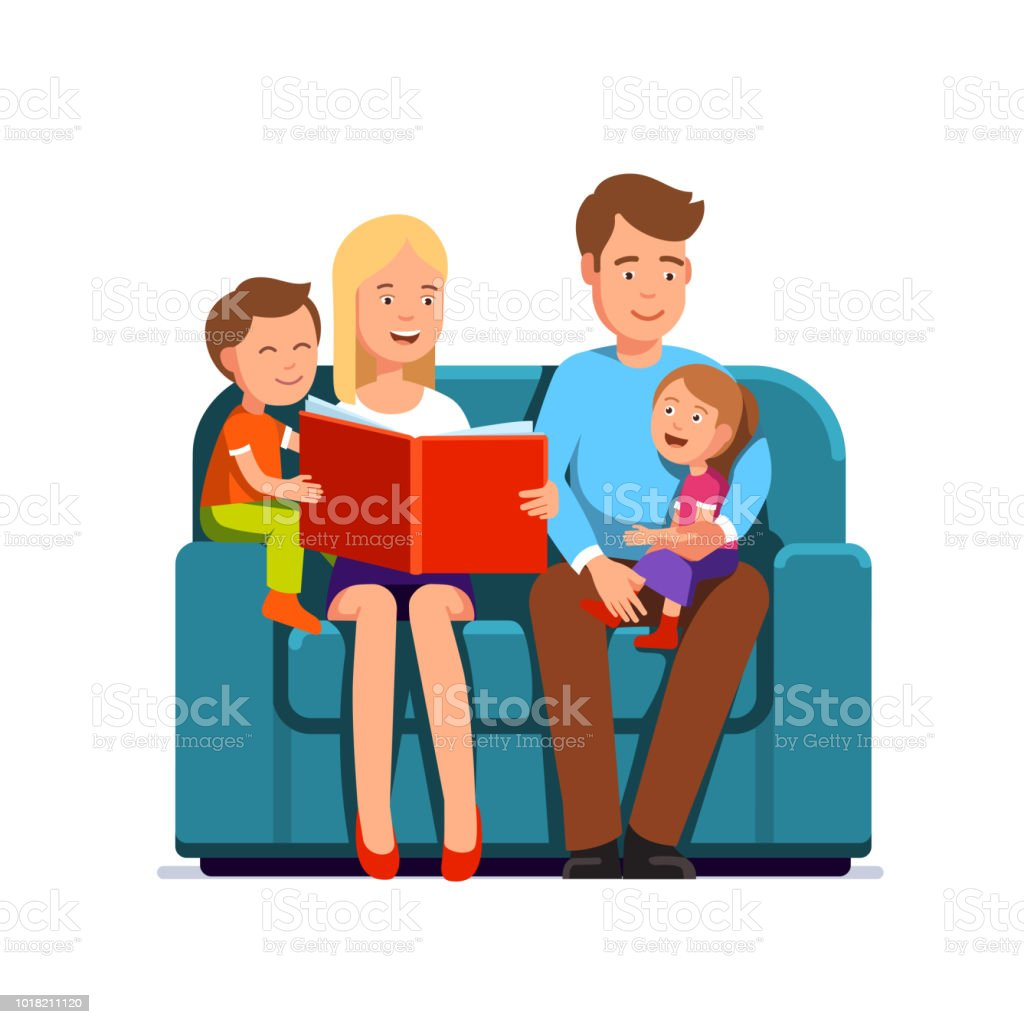 family with two children sitting on a couch mother reading kids book rh istockphoto com Hoot Owl Clip Art Reading I Love Reading Clip Art