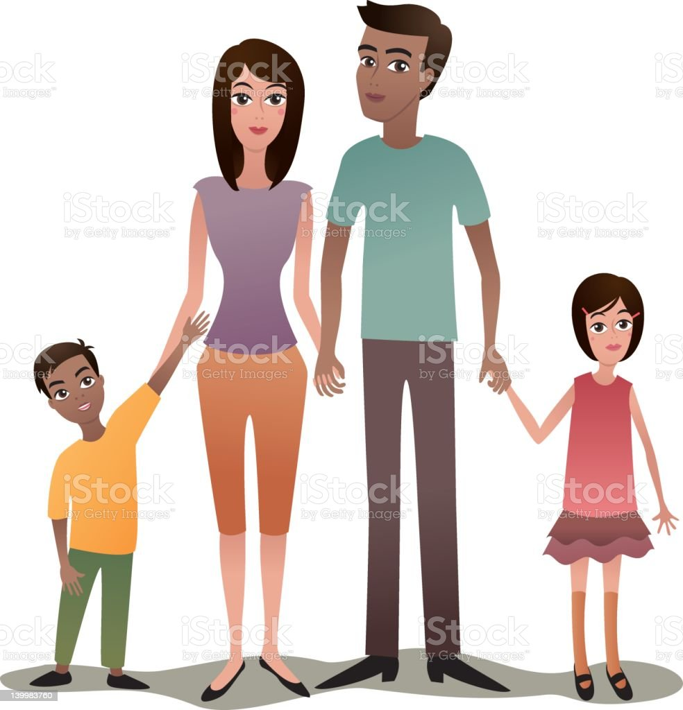 Family with two children royalty-free stock vector art