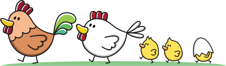 family with young children / rooster, chicken and chick cartoon