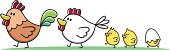 vector illustration of a happy chicken family with three little chicks