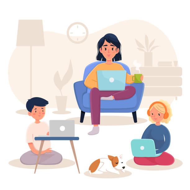 illustrazioni stock, clip art, cartoni animati e icone di tendenza di family working at home - didattica a distanza