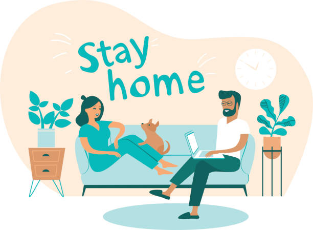 Family working from home. Man and woman sitting on couch and working on laptop vector art illustration