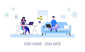 Family working from home with a kid. Coronavirus Quarantine. Remote work. Vector illustration