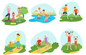 Family workout exercise vector active people mom or dad character and kids exercising together in park illustration set of man or woman with children training fitness isolated on white background.