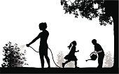 Family Yard Work Vector Silhouette