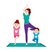 Family making yoga exercises. Time to yourself and take care of yourself. Healthcare, fitness workout, beauty concept. Editable vector illustration in a flat cartoon style isolated on white background