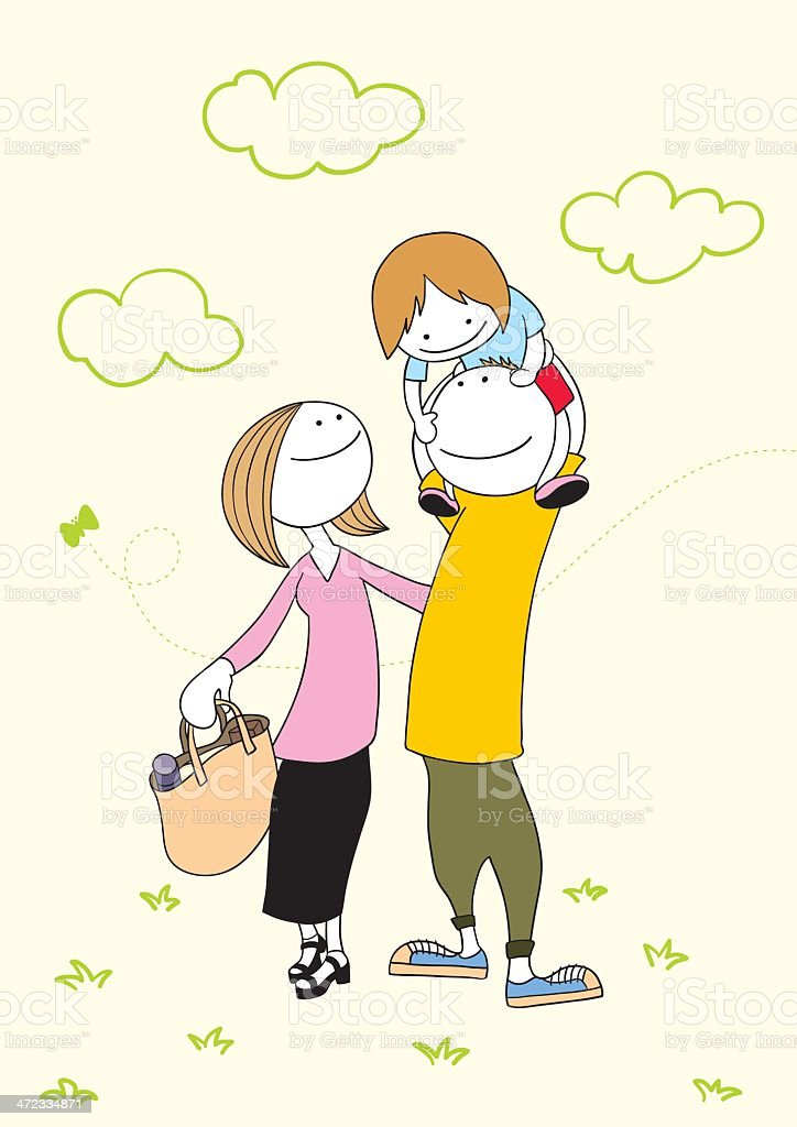 Family_CarryingOnShoulders royalty-free stock vector art