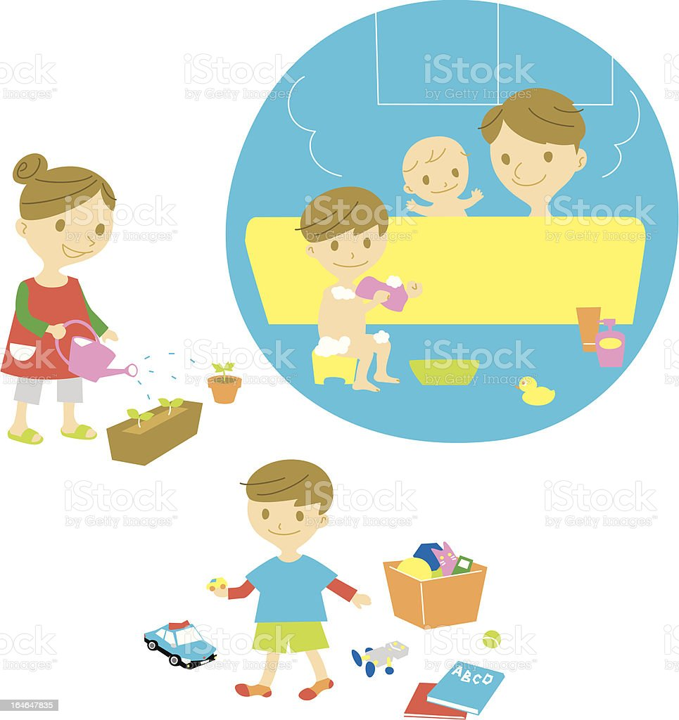 family,bath,watering,playing royalty-free familybathwateringplaying stock vector art & more images of adult