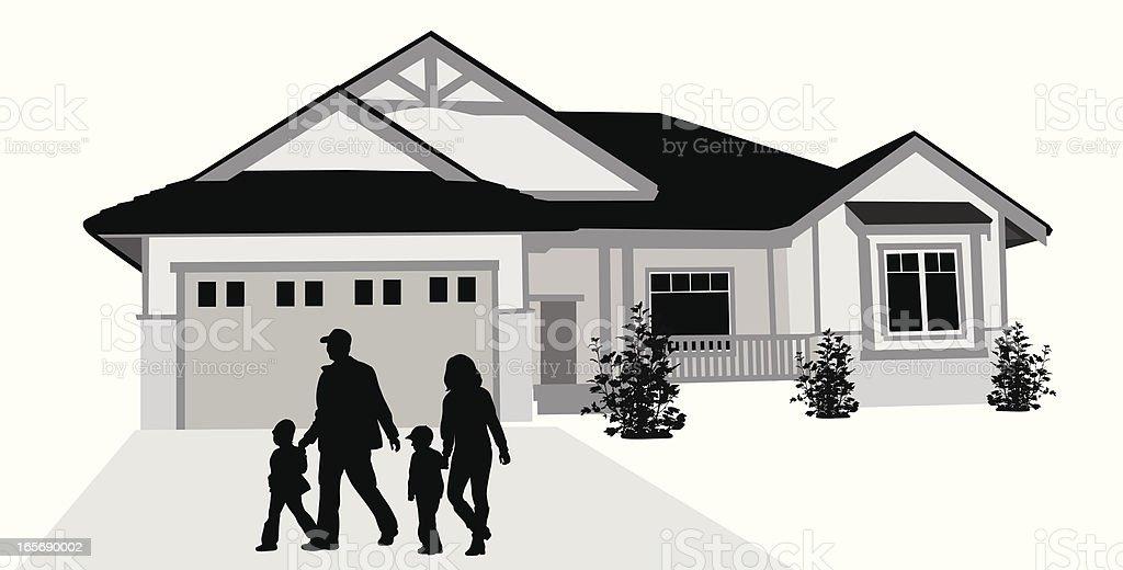 Family'n House Vector Silhouette vector art illustration