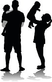 A vector silhouette illustration of a young family with a father holding on to a toddler and a mother holding her new baby abover her head.