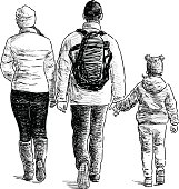 Vector drawing of a walking family.