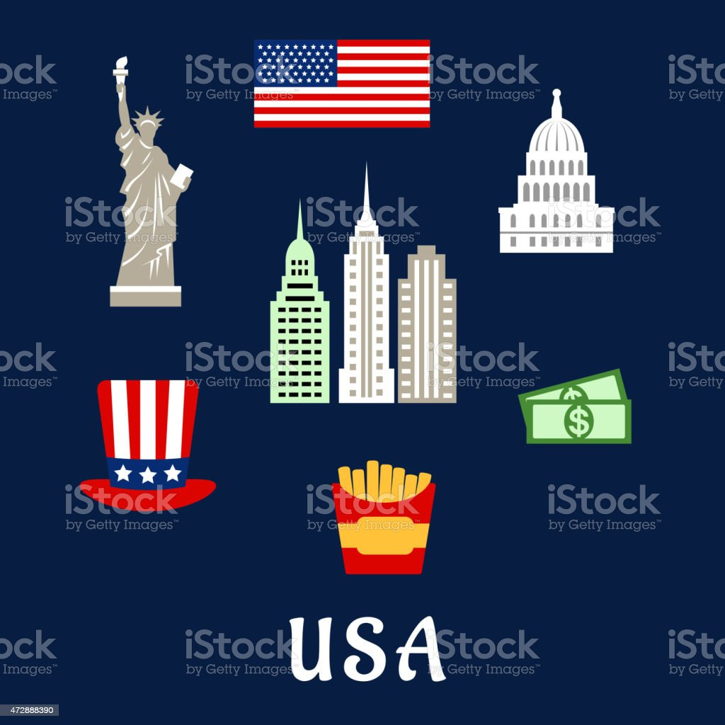 USA famous architecture and culture symbols concept vector art illustration