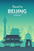 Famous Beijing city scape in color.