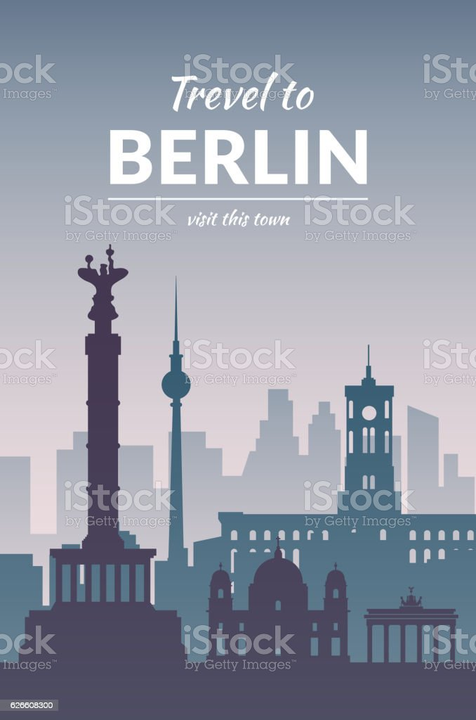 Famous Berlin city scape in color. vector art illustration