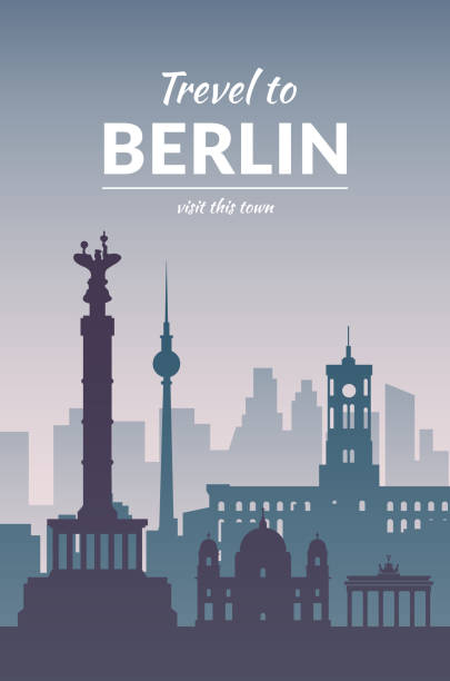 famous berlin city scape in color. - 베를린 stock illustrations