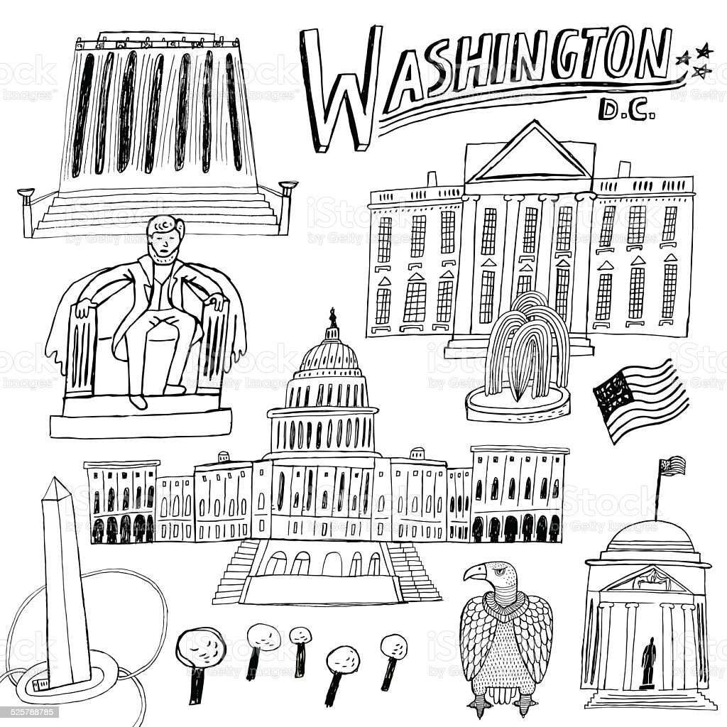Famous buildings and monuments in Washington DC, USA vector art illustration