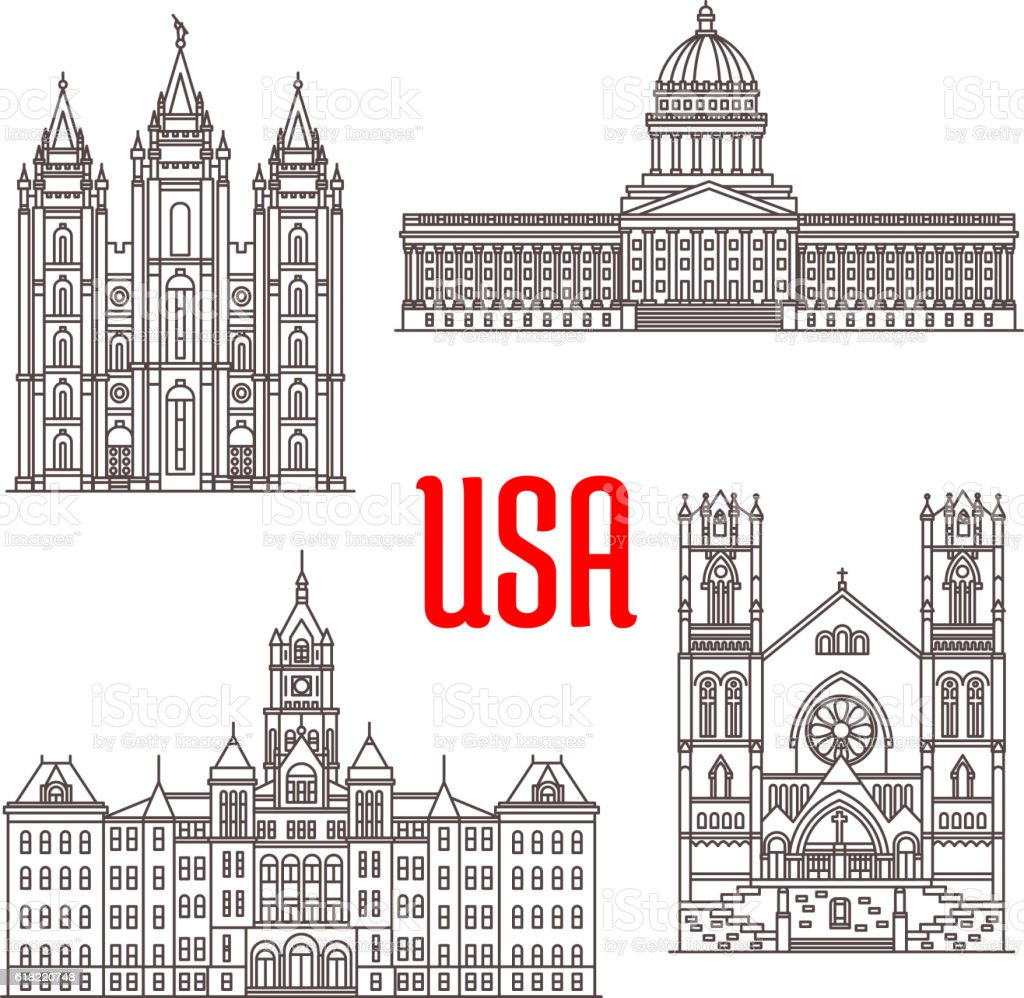 Famous Buildings Symbols And Icons Of Us Stock Vector Art More