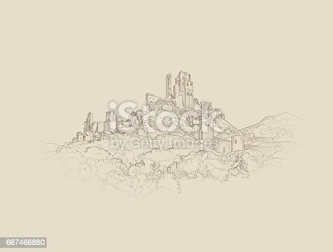 Famous Castle Landscape. Ancient Architectural Ruins Background. Castle building on the hill skyline etching.