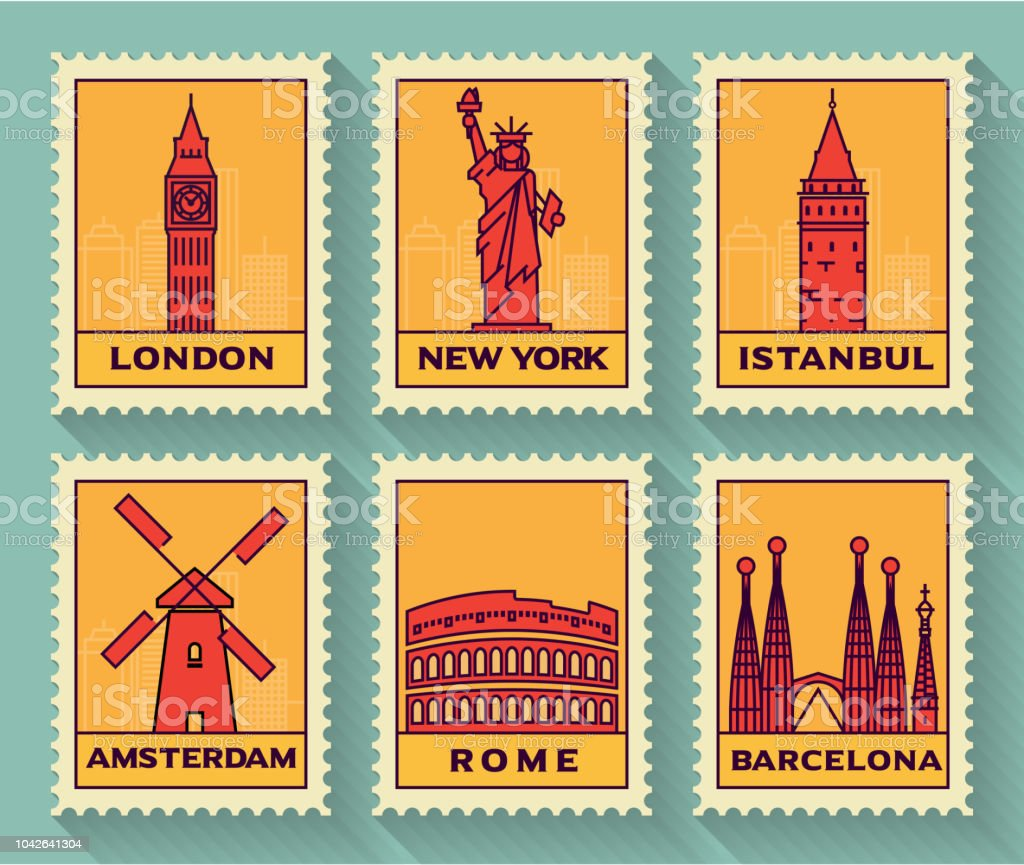 Famous Cities Stamp Collection Stock Illustration - Download Image