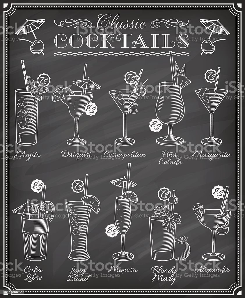 Famoso ilustraciones pizarra del menú de cócteles - ilustración de arte vectorial