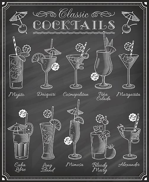 famous cocktails illustrations blackboard menu - cocktails stock illustrations, clip art, cartoons, & icons