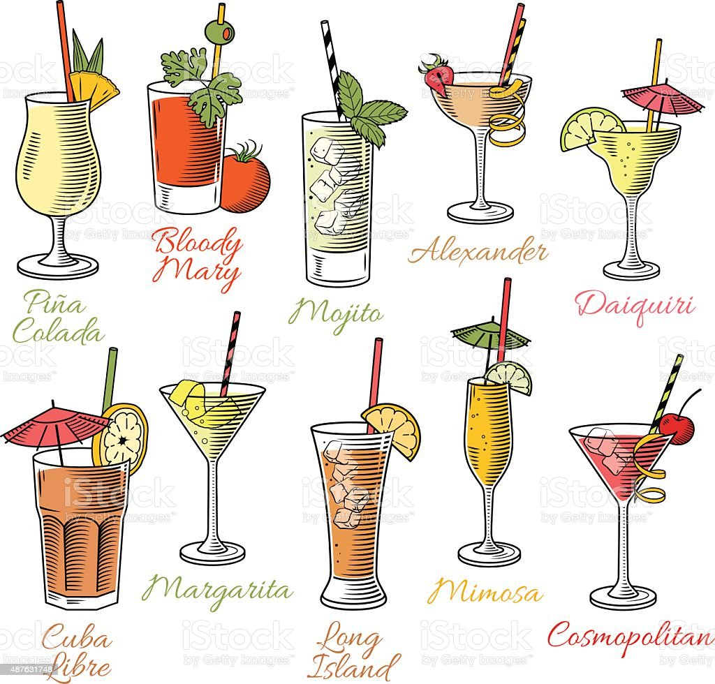 Famous Cocktails Illustrations vector art illustration