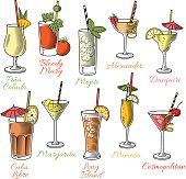 Famous Cocktails Illustrations