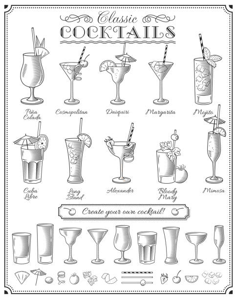 famous Cocktails vector doodles set Big Cocktails vector illustrations set with all the most famous cocktails, glasses and ingredients martini glass stock illustrations