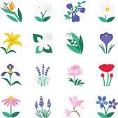 Famous Flower icons Set 2
