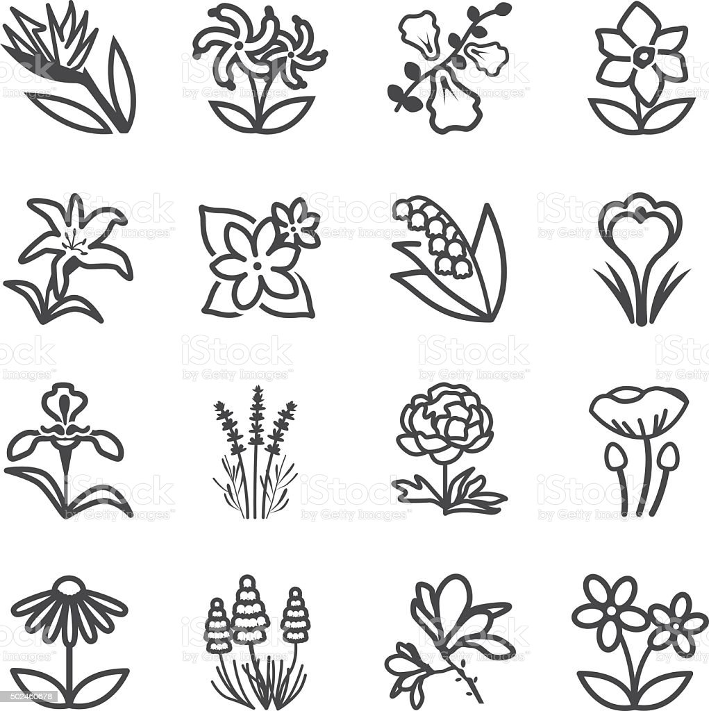 Famous Flower line icons Set 2 vector art illustration