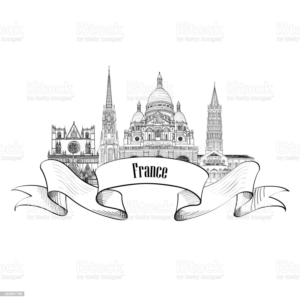 Famous French Architectural Landmarks Visit France Symbol Royalty Free Stock Vector Art