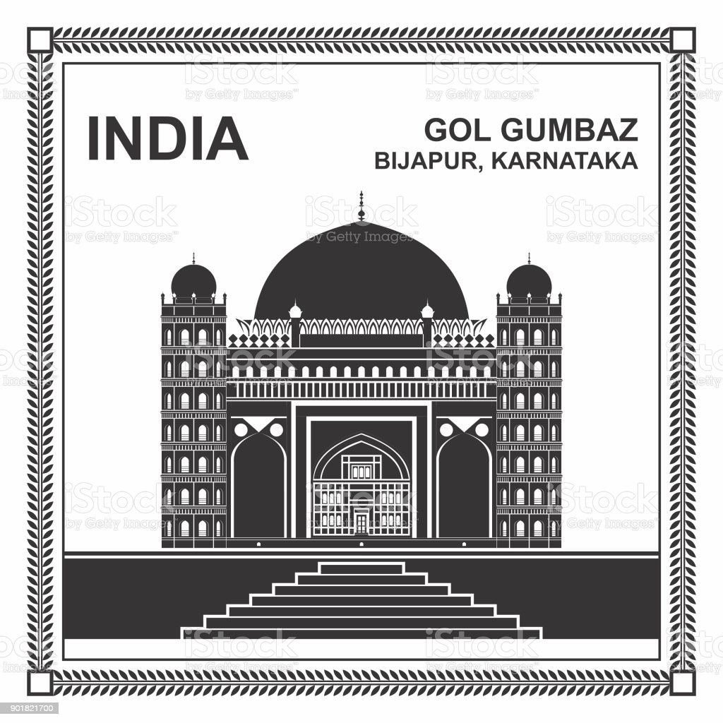 Famous Gol Gumbaz, Bijapur, Karnataka, India vector art illustration