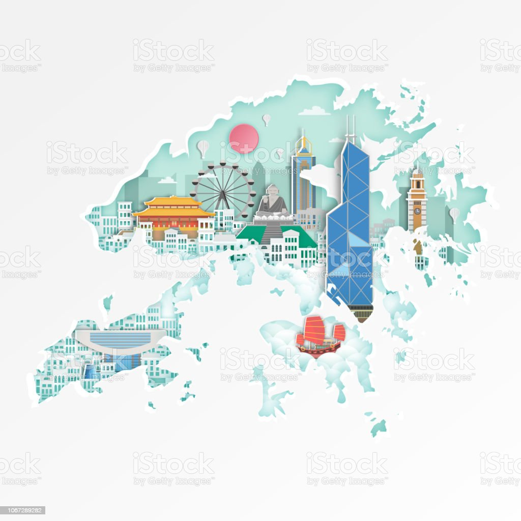 Carte Thailande Hong Kong.Emblematique De Hong Kong Sur Carte De Voyage Affiche Hong