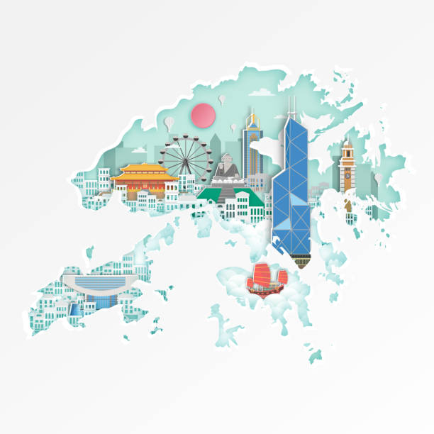 illustrazioni stock, clip art, cartoni animati e icone di tendenza di famous hongkong landmark on map for travel poster,hongkong in paper art style. - hong kong