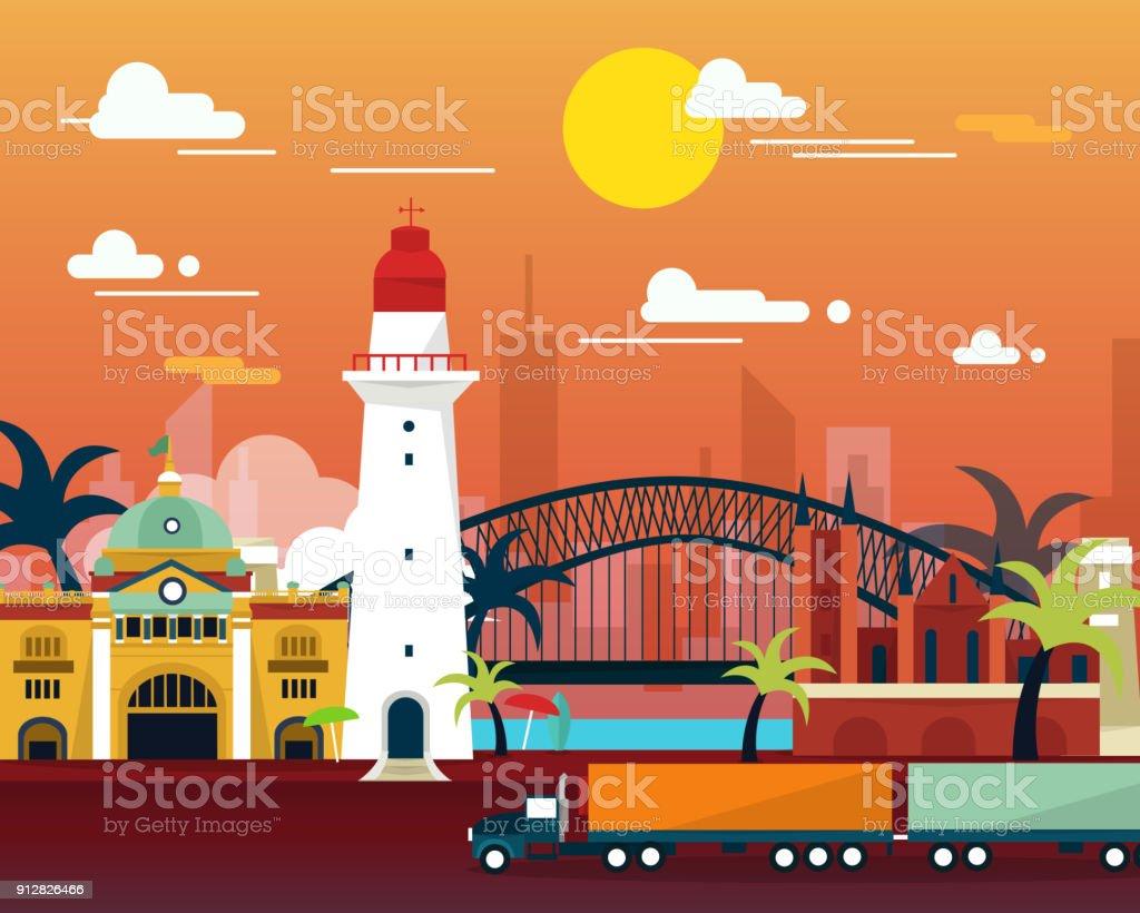 Famous landmark in Australia flat design vector art illustration