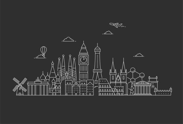 bildbanksillustrationer, clip art samt tecknat material och ikoner med berömda landmärken i europa. - berlin city