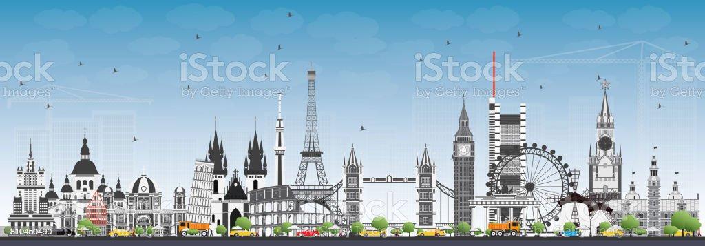 Famous Landmarks in Europe. vector art illustration