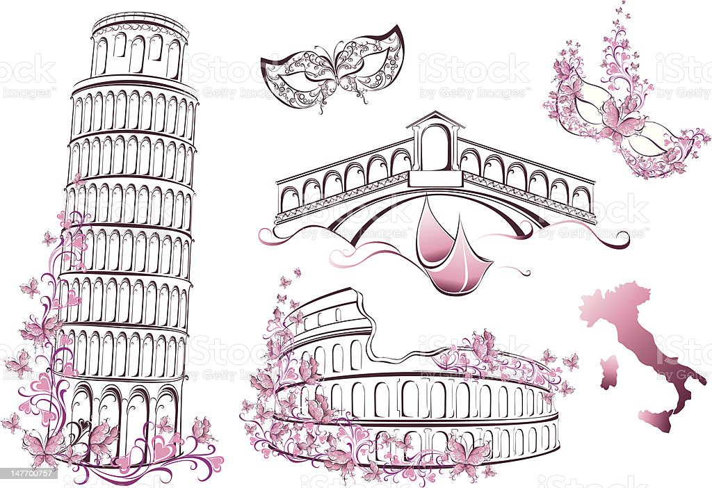 Famous landmarks of Italy vector art illustration