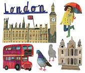 Famous landmarks of London in UK, vector file