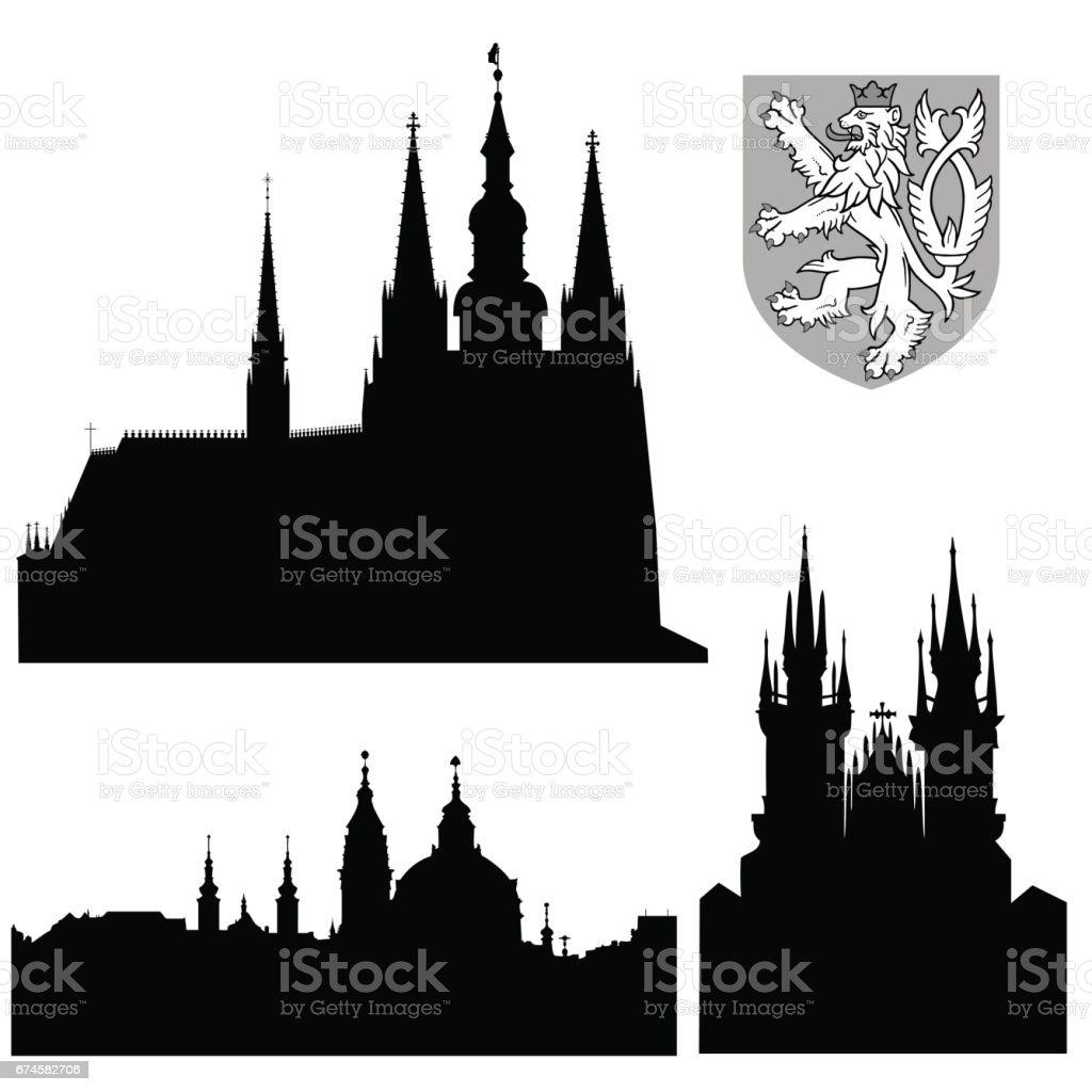 Famous landmarks of Prague - vector vector art illustration