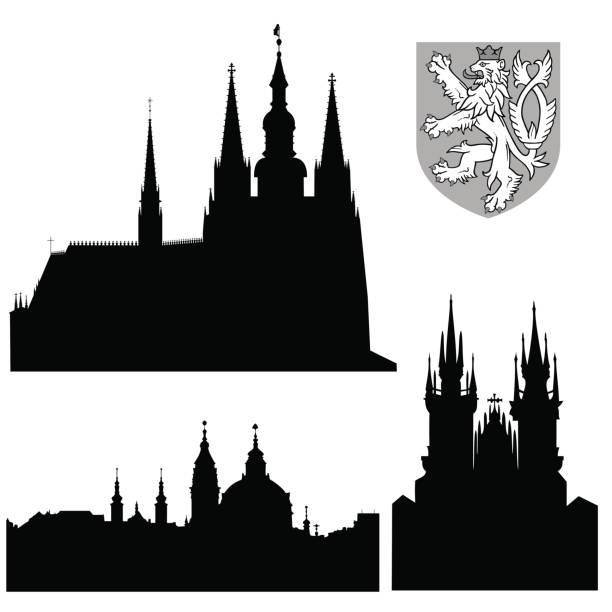 Famous landmarks of Prague - vector vector art illustration
