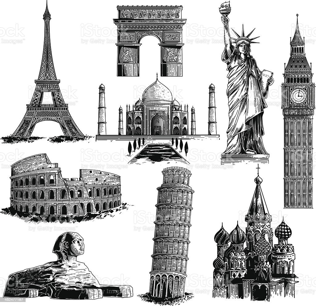 Famous landmarks vector art illustration